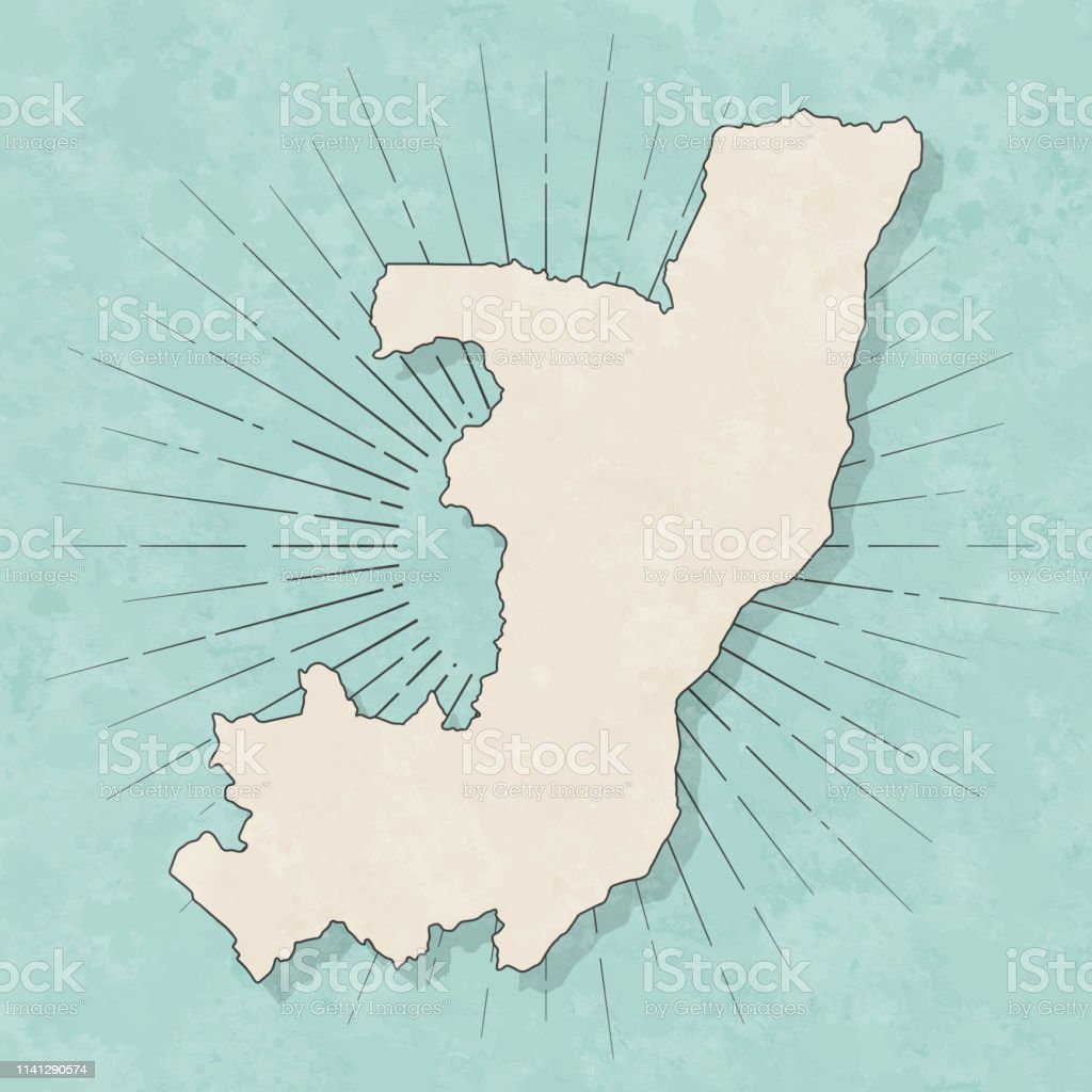 Map of Republic of the Congo in a trendy vintage style. Beautiful...