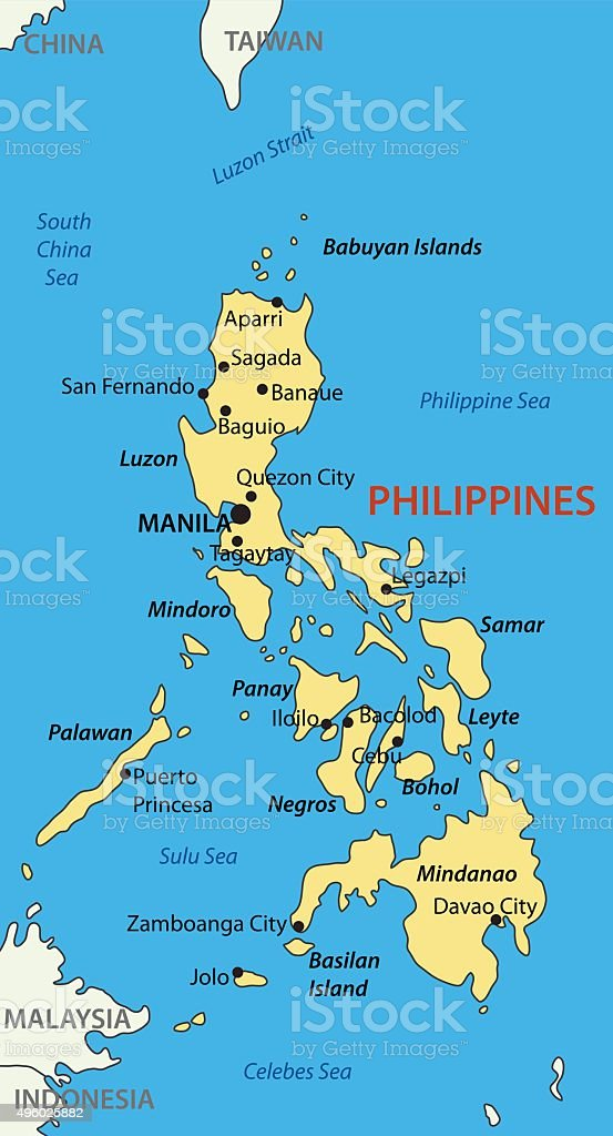 Republic of the Philippines - vector map vector art illustration