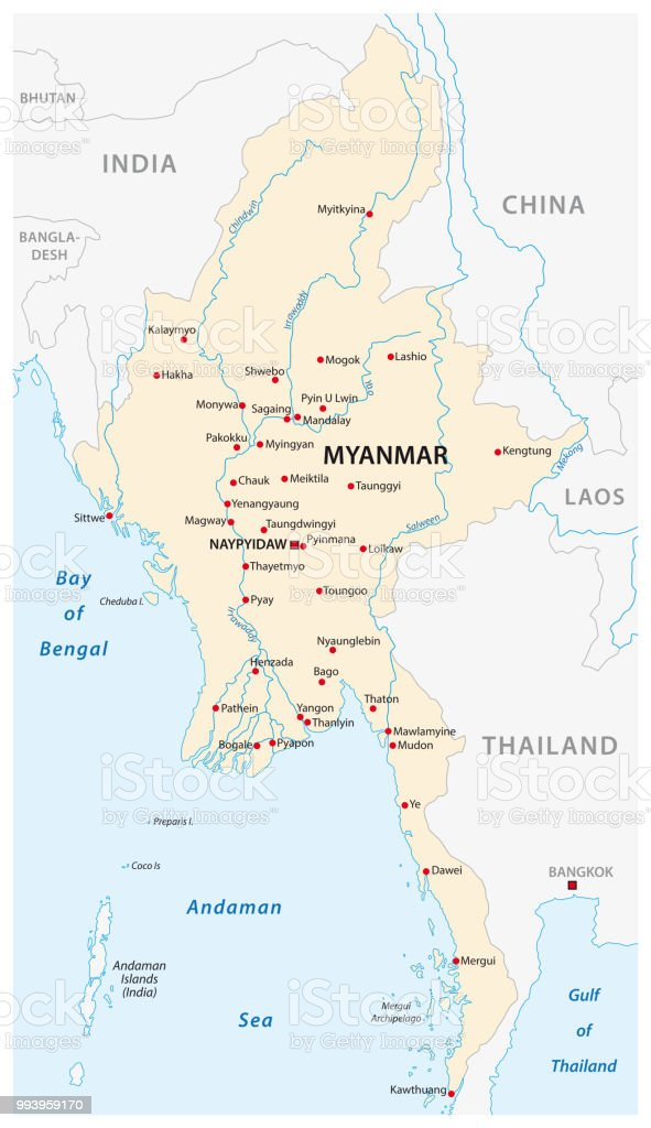 Republic Of The Union Of Myanmar Map Stock Illustration ... on