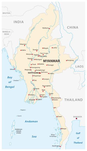 stockillustraties, clipart, cartoons en iconen met republiek van de unie van myanmar-kaart - myanmar