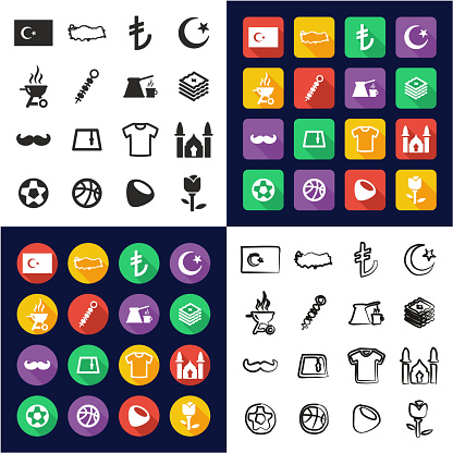 Republic Of Turkey All in One Icons Black & White Color Flat Design Freehand Set