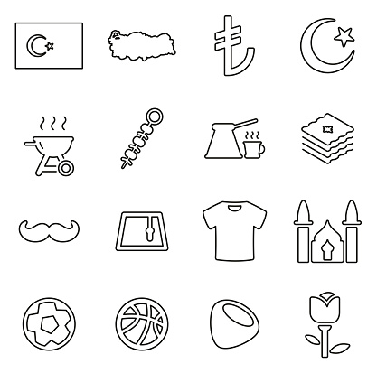 Republic Of Turkey Country & Culture Icons Thin Line Vector Illustration Set