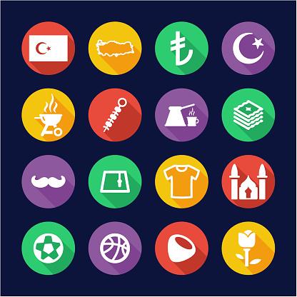 Republic Of Turkey Icons Flat Design Circle