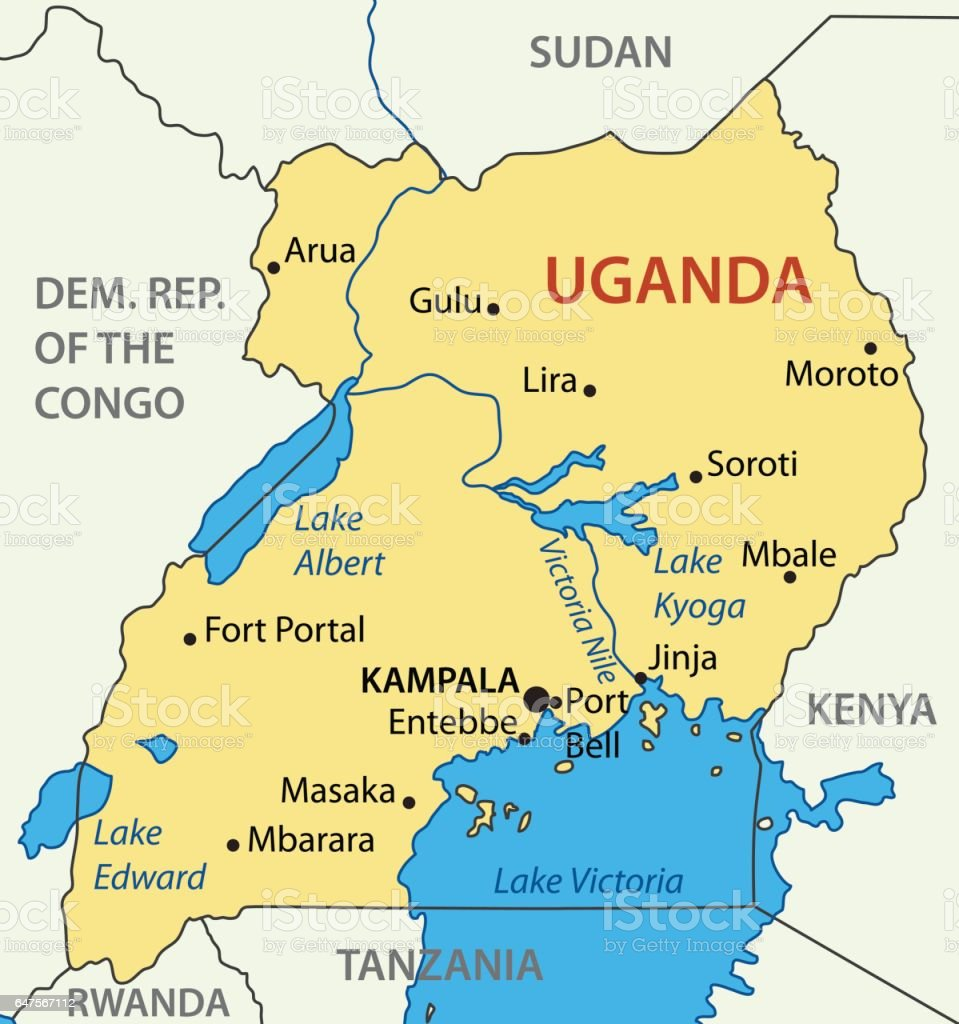 Republic Of Uganda Vector Map Stock Vector Art IStock - Map of uganda