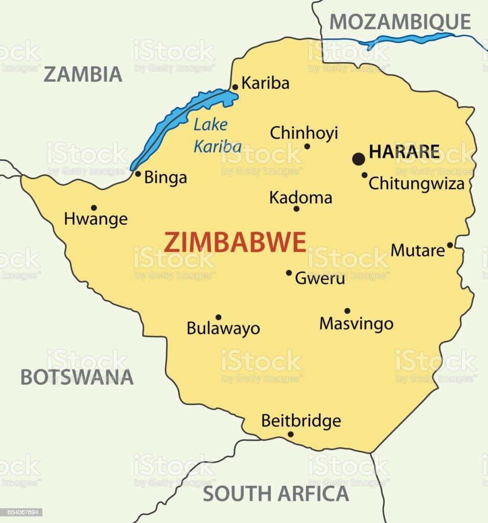 Republic of Zimbabwe - vector map vector art illustration