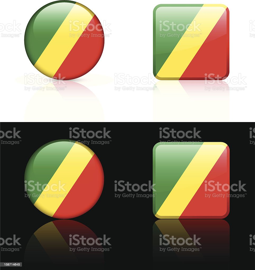 Republic on Congo Flag Button Set royalty-free republic on congo flag button set stock vector art & more images of africa