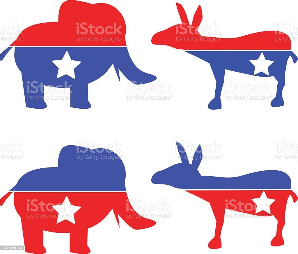 Republikanische und demokratische Esel Elephant – Vektorgrafik