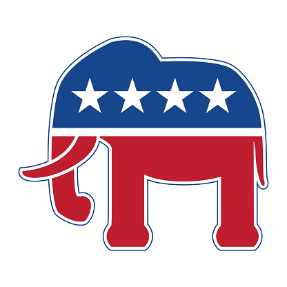 Very cool American Republican elephant in red white and blue isolated vector illustration.