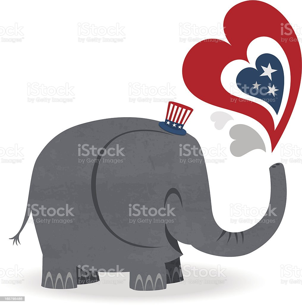 republican elephant vector art illustration