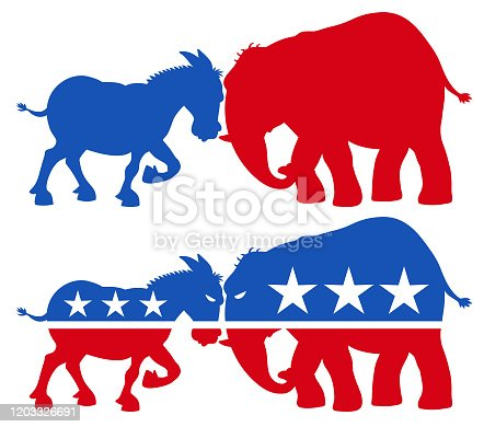 Vector illustration of a red republican elephant and a blue democratic donkey facing off. Concept for US politics, elections, election debates, american culture, confrontation and presidential election.
