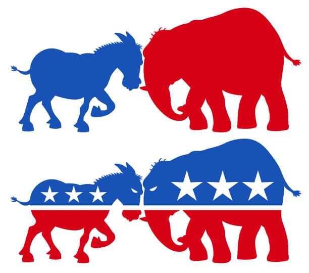 共和黨大象 vs 民主黨 驢剪影 - 政治 幅插畫檔、美工圖案、卡通及圖標