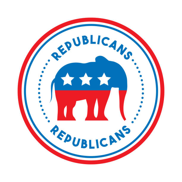 Republican political party animal vector art illustration