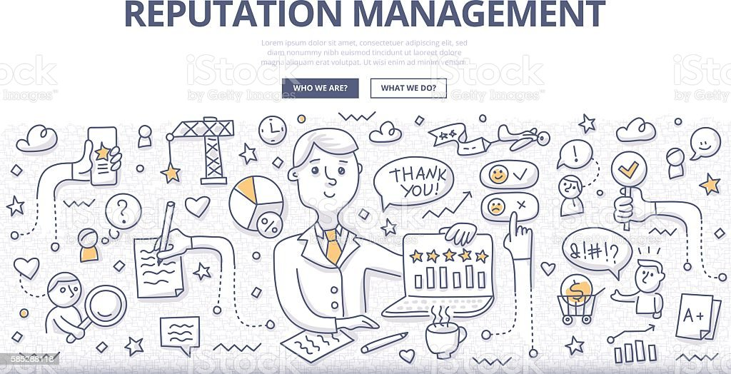 Reputation Management Doodle Concept vector art illustration