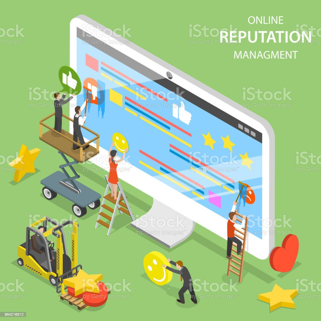 Reputation management flat isometric vector. vector art illustration