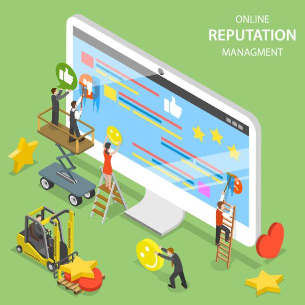 Reputation management flat isometric vector. vector art illustration