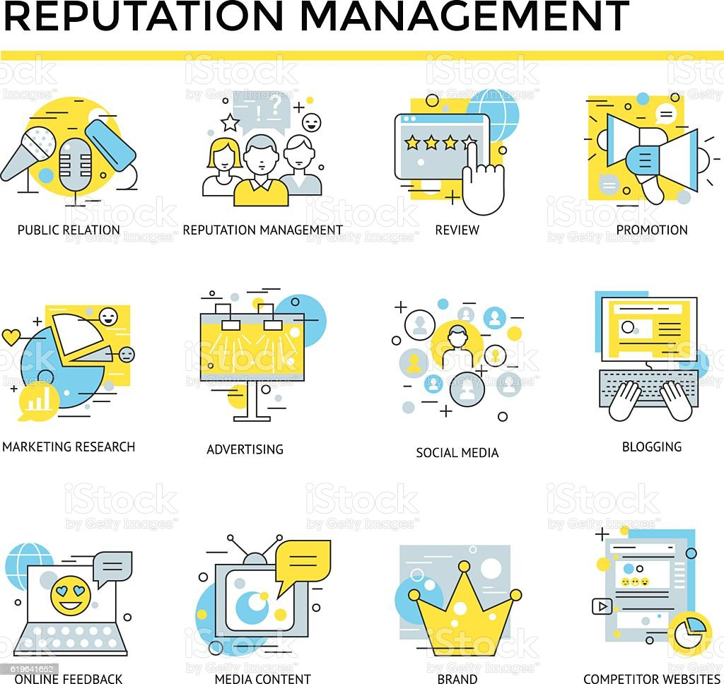 Reputation management icons. vector art illustration