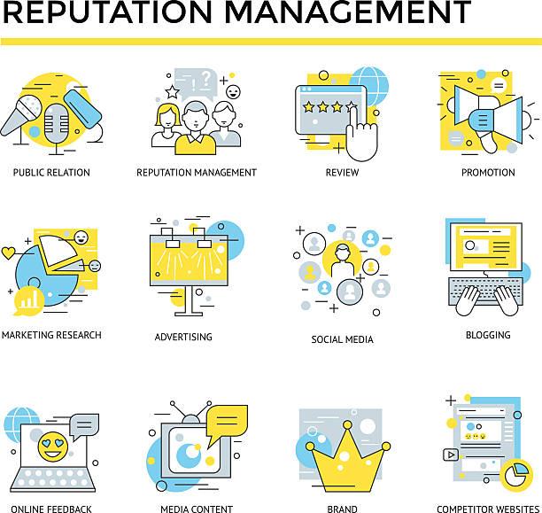 Reputation management icons. vector art illustration