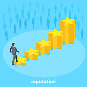 isometric vector image on a blue background, a man in a business suit rises on the growing diaogram from the stars to the top, the growth rating