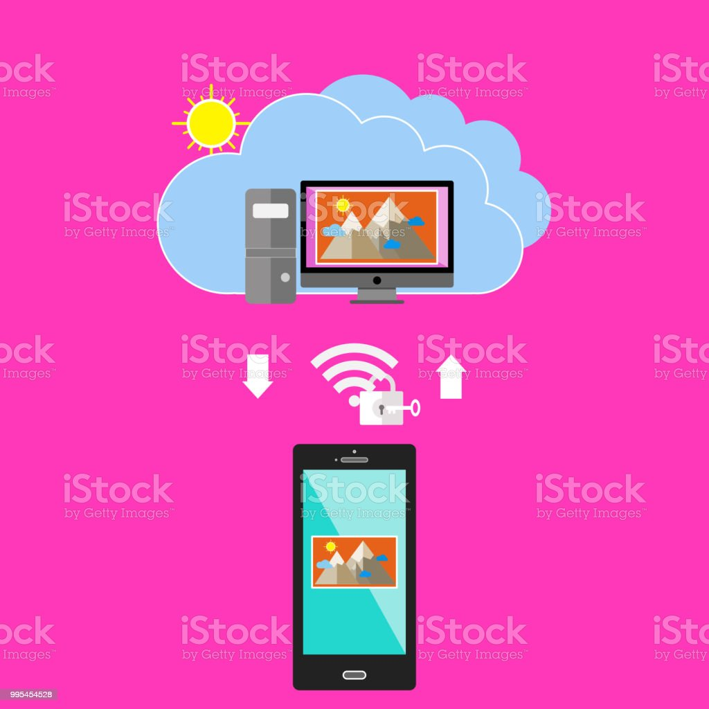 Request To Download Image From Cloud Web Server Stock Vector