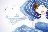 istock Rerto styled beautiful woman on sea backdround 508140982