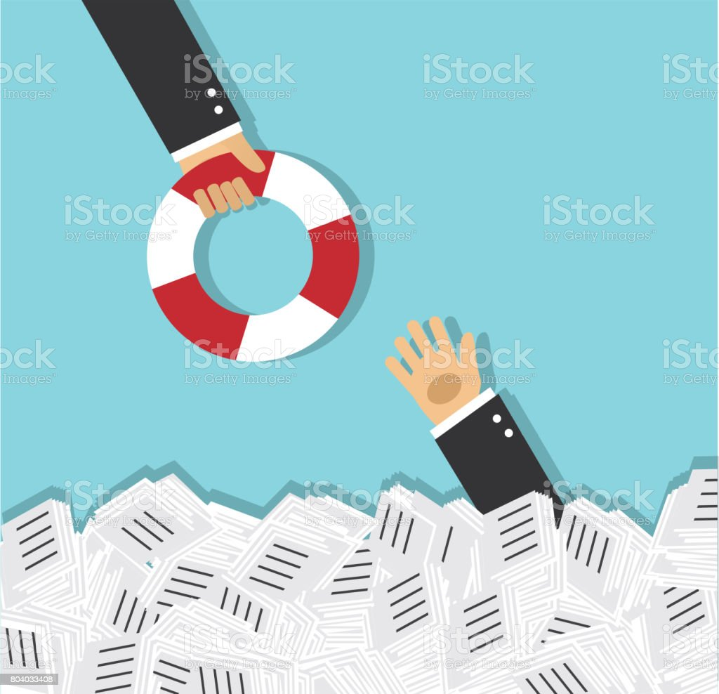 Rescue and support in business vector art illustration