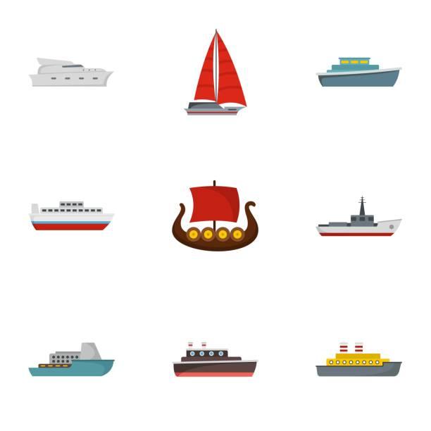 rescue boot icons set, flachen stil - funktionssofa stock-grafiken, -clipart, -cartoons und -symbole