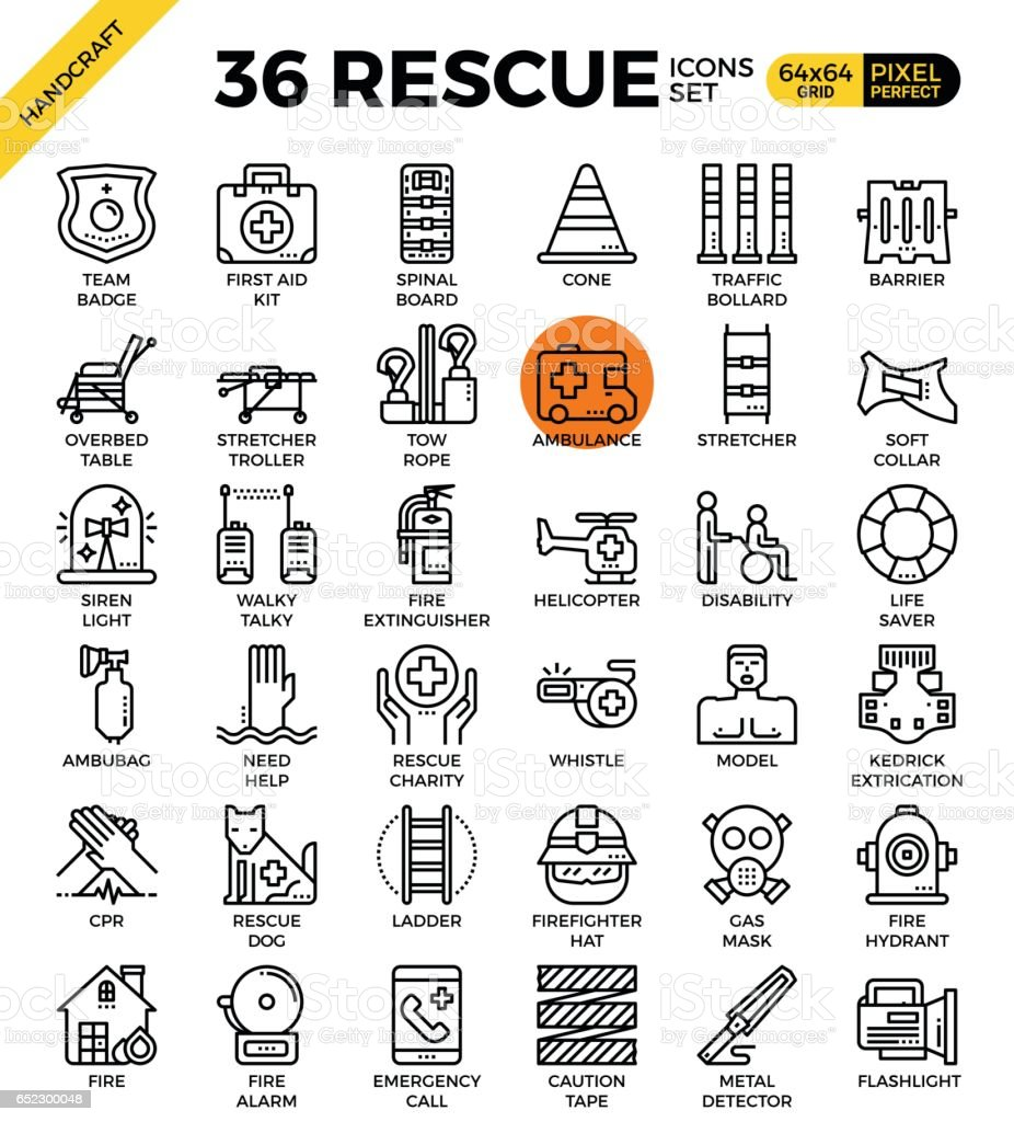 rescue icons vector art illustration