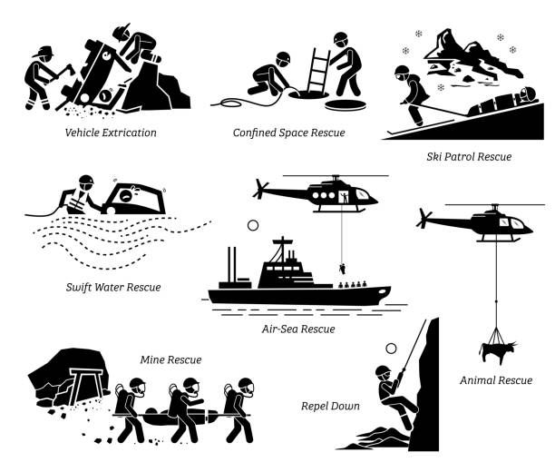 Rescue operations pictograms. vector art illustration