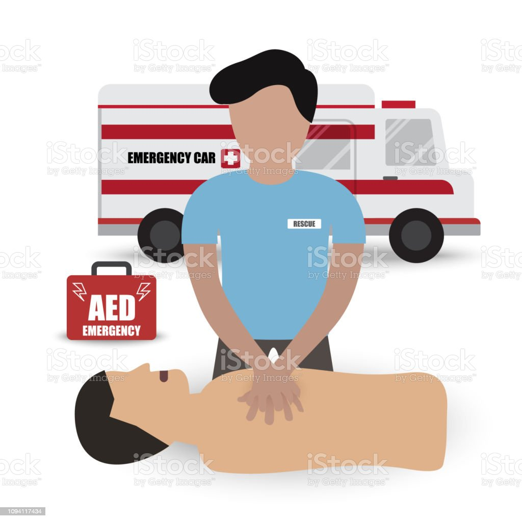 Rescue Paramedic First Aids Emergency Training with CPR Dummy Automated External Defibrillator (AED) and Ambulance Car Infographic Vector vector art illustration