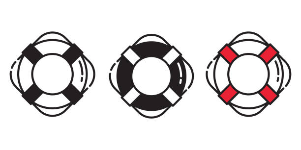 Rescue Ring vector icon logo boat swimming pool beach sea ocean anchor helm maritime Nautical pirate illustration graphic symbol Rescue Ring vector icon logo boat swimming pool beach sea ocean anchor helm maritime Nautical pirate illustration graphic symbol tube stock illustrations