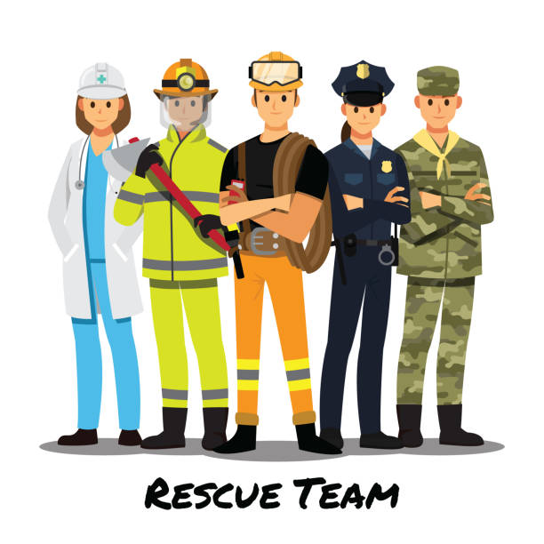 rettungs-team, vektor-illustration-cartoon-figur. - laschet stock-grafiken, -clipart, -cartoons und -symbole