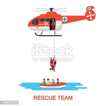 Rescue team with rescue helicopter and boat rescue in mission rescue at sea or flood, isolate on white, vector illustration.