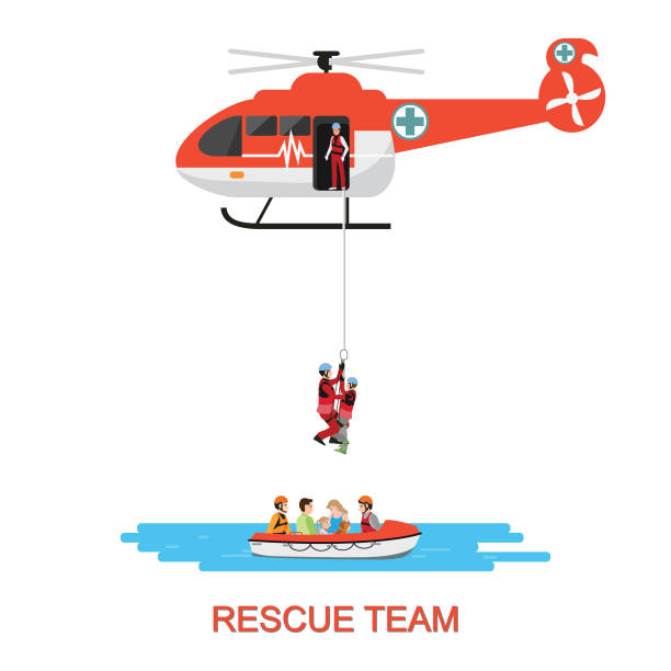 stockillustraties, clipart, cartoons en iconen met rescue team met rescue helikopter en boot rescue. - red