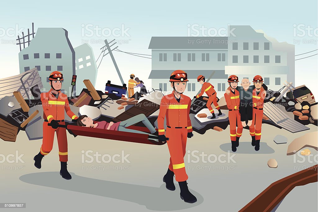 Rescue teams searching through the destroyed buildings vector art illustration