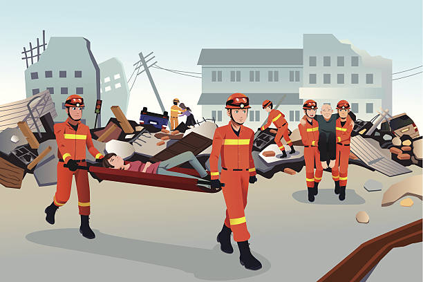 Rescue teams searching through the destroyed buildings A vector illustration of rescue teams searching through the destroyed  buildings  during the earthquake earthquake stock illustrations