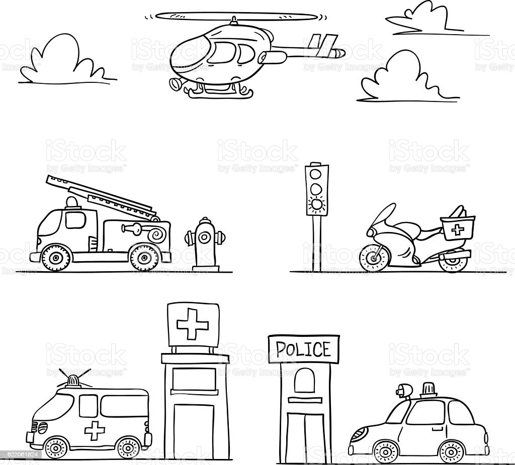 Rescue Vehicles in black and white vector art illustration
