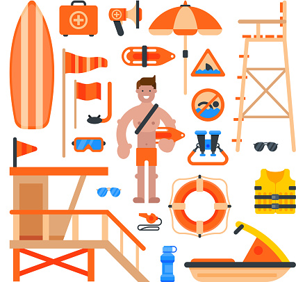 Rescuer lifesaver worker man on beach and of life-saving service lifeguard beach devises vector illustration