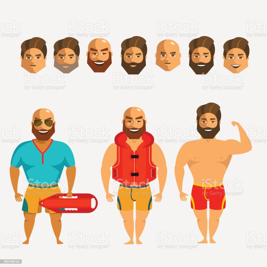 Rescuers on the beach. Man character creation set. Icons with different types of faces, hair mustaches and beards  style, emotions, male person. vector art illustration