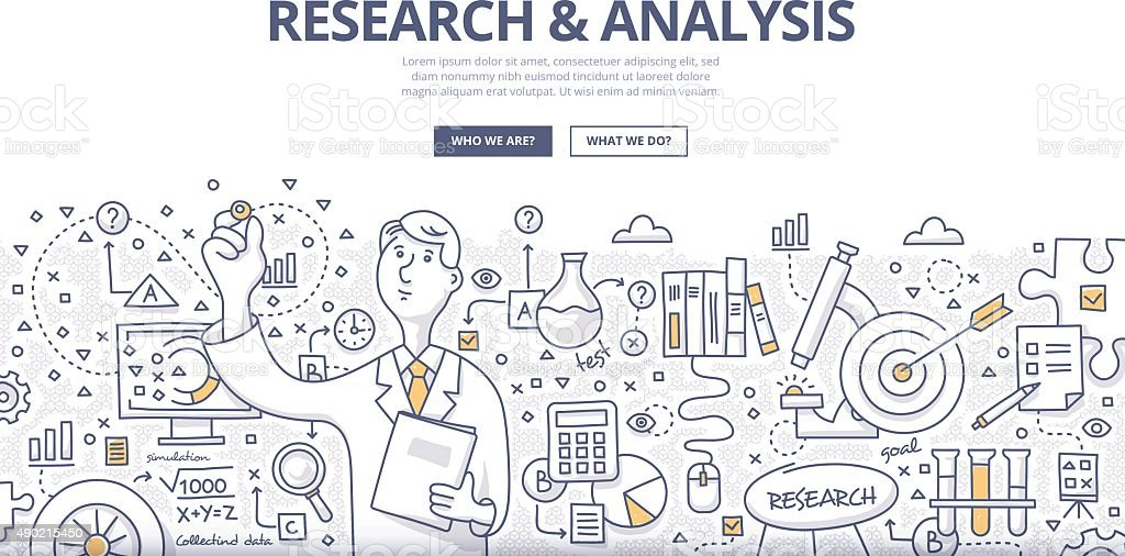Research & Analysis Doodle Concept vector art illustration