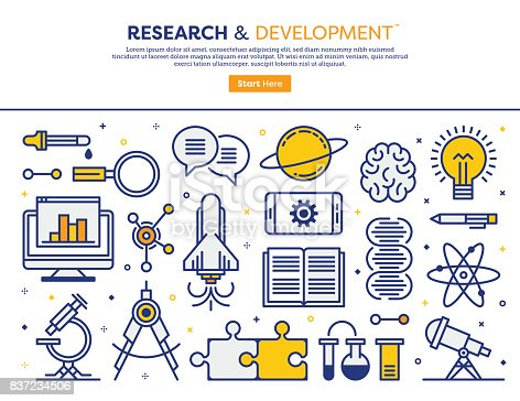 Line vector illustration of research and development concept. Banner/Header Icons.