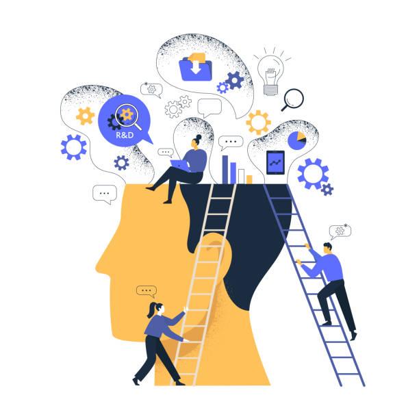 illustrazioni stock, clip art, cartoni animati e icone di tendenza di illustrazione concettuale di research and development labs (r&d). il team studia tecnologie emergenti e all'avanguardia alla ricerca di modi di alto valore per sfruttarle per i clienti. - focus group
