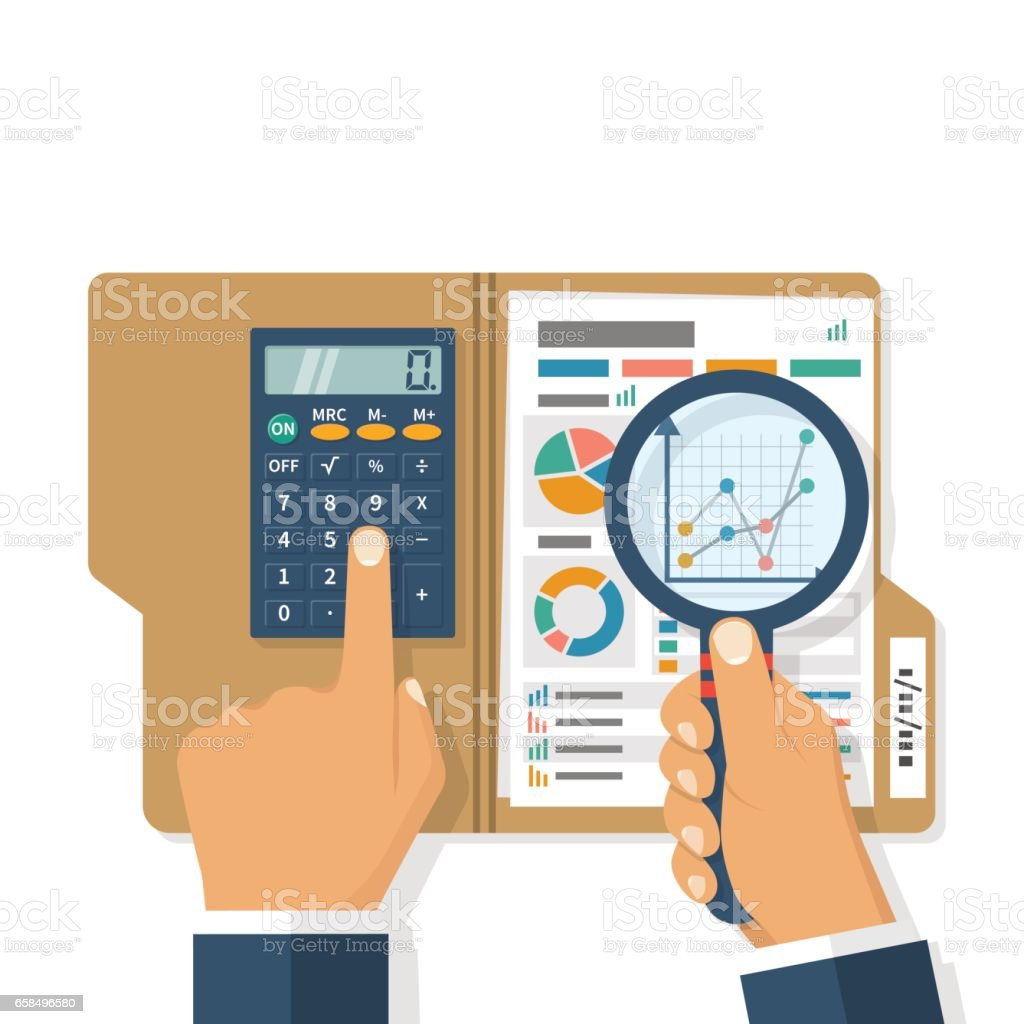 Research business concept vector art illustration