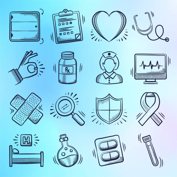 research, education & care doodle style vector icon set - cancer patient stock illustrations