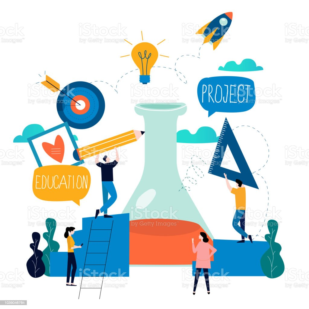 Research, education, science lab project vector art illustration