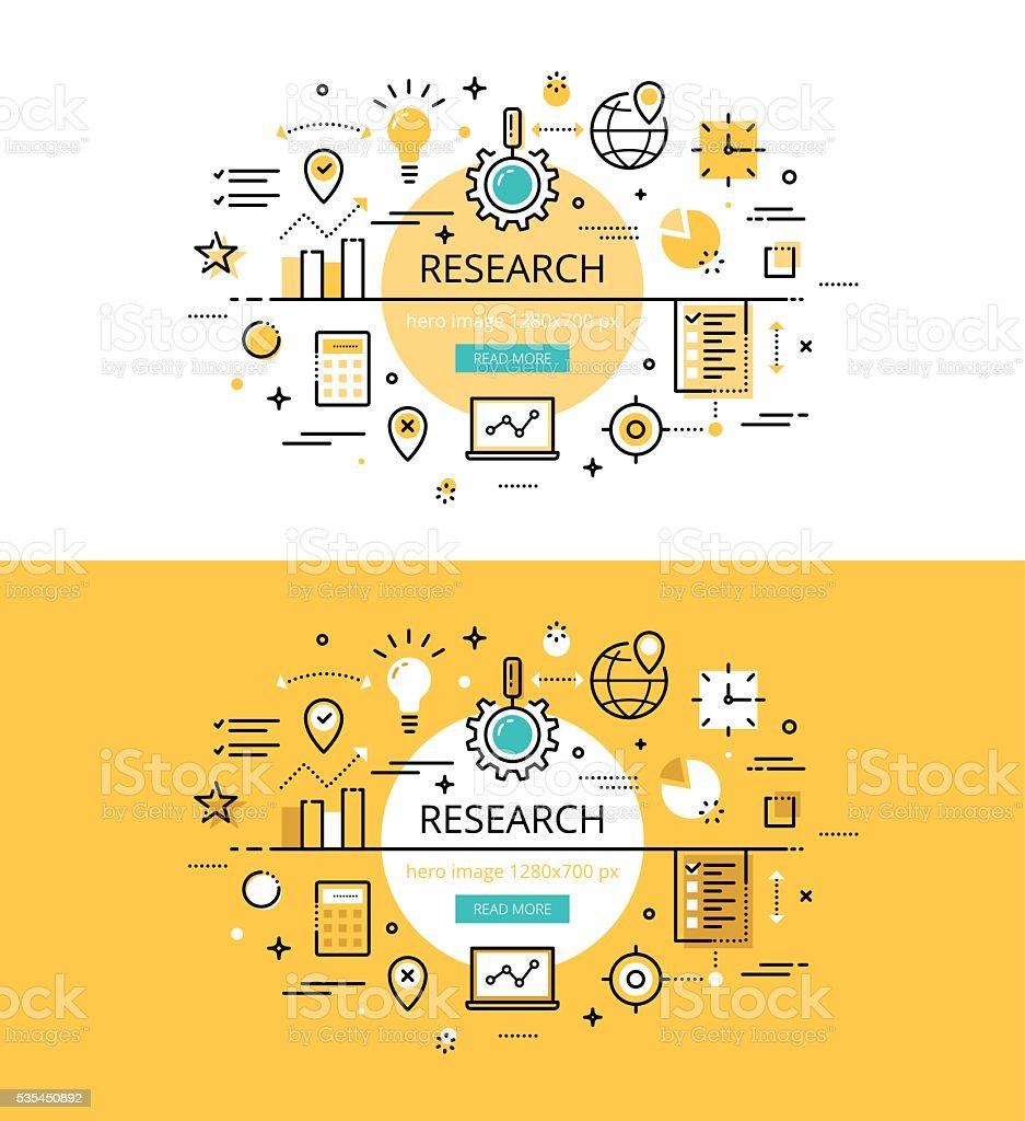 Research. Flat line color hero images and hero banners design concept vector art illustration