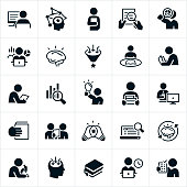 A set of research icons. The icons show several different symbols representing research. They include a person doing research on the computer, a person reading a book, using a magnifying glass to review a document, reviewing charts and graphs, a brain representing knowledge, a person gaining knowledge, reading a textbook, reviewing data, carrying books, reviewing documents, looking through a microscope and others.