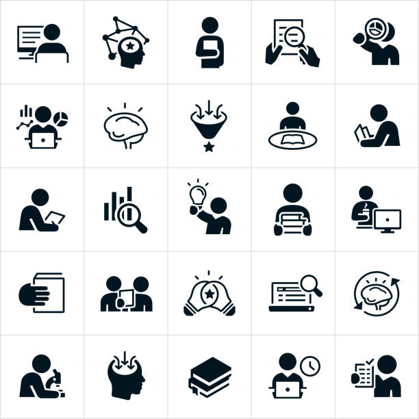 Research Icons A set of research icons. The icons show several different symbols representing research. They include a person doing research on the computer, a person reading a book, using a magnifying glass to review a document, reviewing charts and graphs, a brain representing knowledge, a person gaining knowledge, reading a textbook, reviewing data, carrying books, reviewing documents, looking through a microscope and others. students stock illustrations