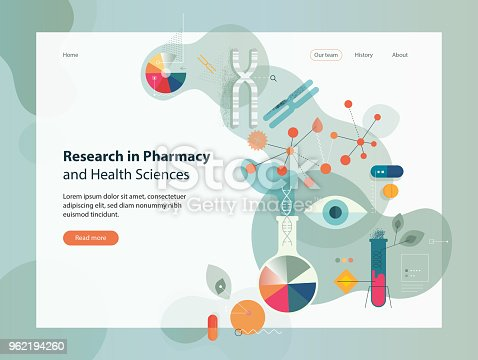 Website template depicting researches in pharmacy and health sciences.