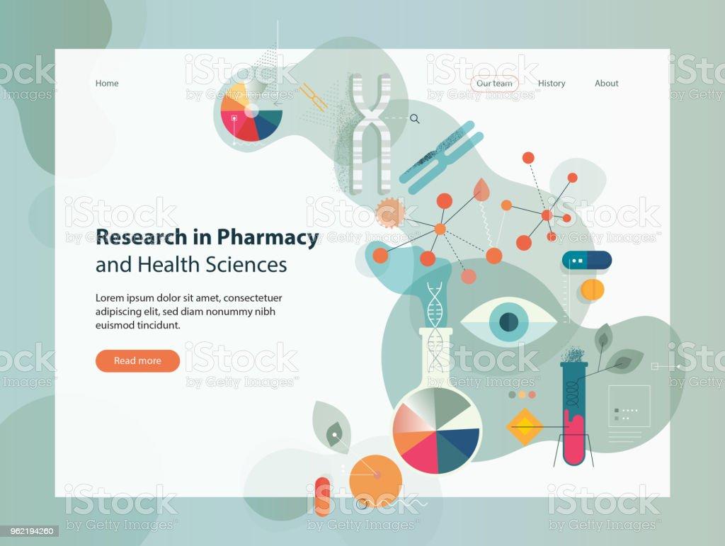 Forschung In der Pharmazie und Gesundheitswissenschaften – Vektorgrafik