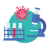 Research laboratory. Medical research virus, bacteria, world epidemic Vector illustration